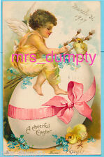 Clapsaddle~Easter Angel in Yellow on Egg with Chicks~Embossed EARLY UDB POSTCARD