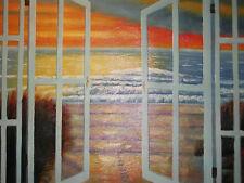 Puesta de sol Mar Vista Océano Ola Grande Pintura al Óleo Lienzo Aves Paisaje Contemporáneo