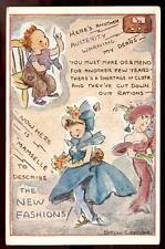 WW2 Comedy austerity ration Glamour New Fashion dress PPC
