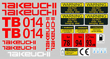 TAKEUCHI TB014 MINI DIGGER COMPLETE DECAL SET WITH SAFETY WARNING SIGNS