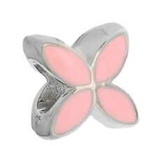 Pale Pink Enamel Silver Plated Flower Spacer Charm for European Bead Bracelet