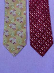 "LOT OF TWO (2) ERMENEGILDO ZEGNA italy WOVEN FLORAL SILK TIES 3.5"" 9 cm"