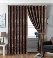 Imperial Rooms Betty Jacquard Eyelet Panel Curtains Brown - 168cm L X 183cm W