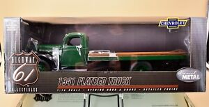 New in Box Highway 61 1/16 Diecast 1941 Chevrolet Flatbed Truck Orange Hwy 61