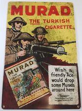 MURAD THE TURKISH CIGARETTE WWI DOUGH BOY SOLDIERS HEAVY DUTY METAL ADV SIGN
