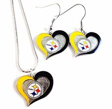 """NFL """"PITTSBURGH STEELERS"""" NECKLACE / EARRINGS TEAM LOGO  FASHION JEWELRY AMINCO"""