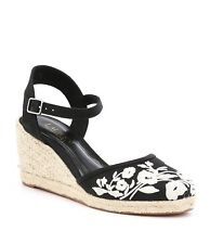 4eac3c3b496 Ralph Lauren Hayleigh Espadrille Wedge Sandals Embroidered Linen Size 9 B  BLACK