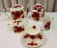 Peppertree Imports Poppy Tea Set / Covered Jar,Teapot, Cream & Sugar, Teacup Set
