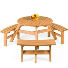 Outdoor Bench Round Picnic Table Patio Outside Wood Dining Set Garden New