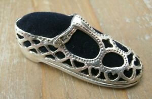 Novelty Edwardian Style Pierced Silver 925 Pin Cushion Of A Childs Buckle Shoe
