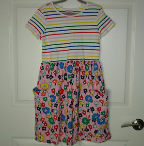 Girl's Hanna Andersson Mixie Playdress Pink Floral & Stripes Pockets Sz 150/12