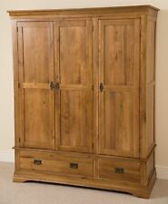 French Rustic Solid Oak Wood 3 Door 2 Drawer Triple Wardrobe Bedroom Furniture