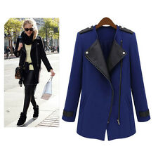 Womens Celebrity Ladies Fashion Slim Leather Faux Wool Jacket Coat Outerwear CJ