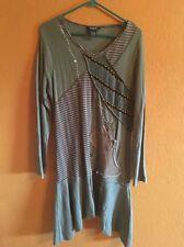 Moka Sport Womens Ling Sleeve Acrylic Gray Brown Sweater Dress Sz L