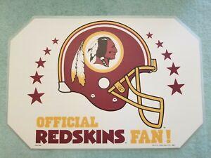Set Of 4 Vintage 1992 Washington Redskins NFL Place Mats w/ 4 Matching Coasters