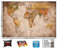Karte der Welt Foto Wandbild Stil vintage Retro Größe XXL Dekoration Wände