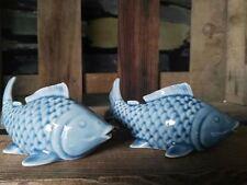 2 x Fische zum Stellen Koi Blau Hochglanz Maritim Meer Nordsee Keramik Urlaub