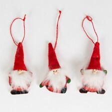 Tres Rojo Fieltro Santa/Papá Noel Barba Colgante Decoraciones con esponjoso