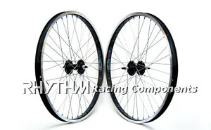 "24"" BMX WHEELSET WHEELS BLACK / BLACK BLUE NIPPLES"
