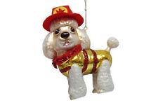 December Diamonds Blown Glass Ornament Poodle Fireman Firefighter Dog Glitter