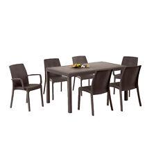 Tavolo rettangolare in resina 150x90 marrone con sei sedie da esterno