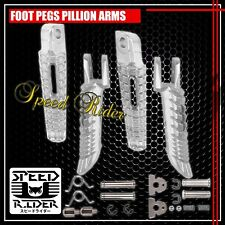 SILVER FRONT+REAR FOOT PEG ALUMINUM RIDER DRIVER SET 00-15 GSXR 600/750/1000 GSX