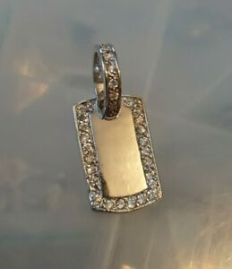 Stainless Steel Dog Tag Pendent - Inlaid Cubic Zirconia Stones.