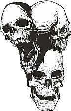 1x Three Headed Skull Sticker for Motorcycle Gas Tank Bumper Helmet Truck #18