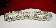 """925 STERLING SILVER TEXTURED AND POLISHED BEAD BALL BRACELET 8.25"""" LONG"""
