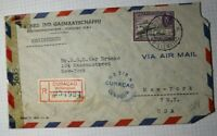 Netherlands Antillies Curacao Airmail Registered Cover 1944 Censor Seal Sc#C26