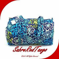 NWT VERA BRADLEY QUILTED SMALL DUFFEL GYM TRAVELLING BAG FLORAL KATALINA BLUES