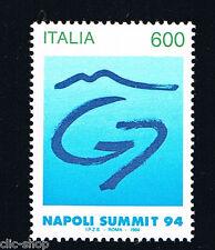 ITALIA FRANCOBOLLO VERTICE DEI G7 NAPOLI SUMMIT 1994 nuovo**