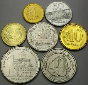 PARAGUAY 1 Guarani / 1000 Guaranies 1992/2014 - Lot of 7 Coins - UNC *
