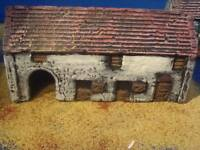 A1 Painted Farm buildings 15mm. For wargame scenery and terrain buildings,