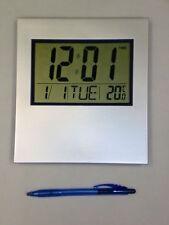 Silver Large Digital Wall Clock Lcd desk alarm temp office school hall Numeric U