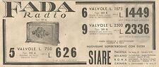 Y2072 FADA Radio Tipo 351 A - Pubblicità del 1933 - Old advertising