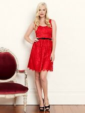 NWT REVIEW Valentine Dress- Red Lace/Black 1950s Vintage Style Bow- 10 -RRP $270