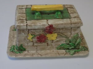The Wishing Well Falconware Pottery Butter Dish Handpainted