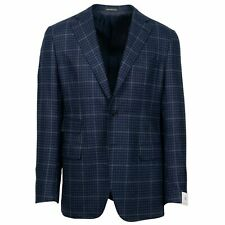 NWT CARUSO Dark Blue Check Wool 3 Roll 2 Button Sport Coat 50/40 R Drop 7