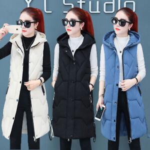 Winter Women Down cotton Vest Jacket Sleeveless Hooded Coat Long Waistcoat