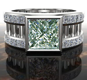3.06 ct VVS1+Princess Ice Blue White Moissanite Diamond .925 silver Men's Ring