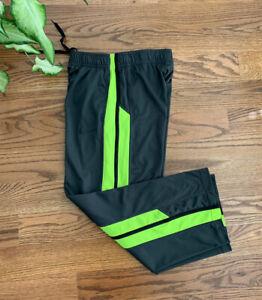 Nike Dri-fit Running Athletic Basketball Pants Boy's Size M Dark Gray/Neon Green