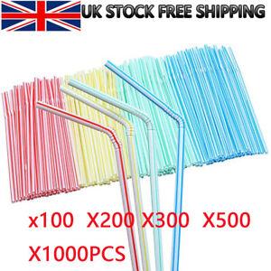 100 ~1000PCS Neon Coloured Flexible Bendy Straws Birthday Party Drinking Plastic