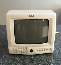 "Rca White Portable Color Tv 9"" Crt Television E09344 No Remote"