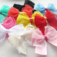20PCS Lace Satin Flowers Appliques Wedding Doll Decor Lots Mix Ribbon Bows
