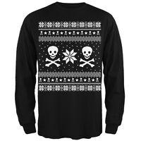 Skull & Crossbones Ugly Christmas Sweater Black Long Sleeve T-Shirt