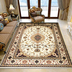 Luxury Traditional Rug Non Slip Rug Runner Cream Heritage Rug Bedroom Carpet Mat