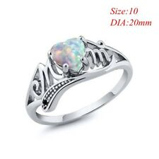 925 Silver Plated Opal Ring Heart Family Love for Mother Band Rings MOM Ring