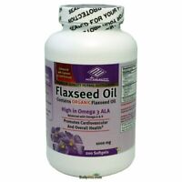 Organic (Linseed) Flaxseed ( Flax Seed ) Oil, Omega 3, 1000mg 200 Counts, FRESH