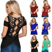 Women Sexy Lace Back Cold Shoulder Shirts Summer Short Sleeve Blouse Top Tunic